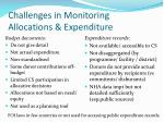 challenges in monitoring allocations expenditure