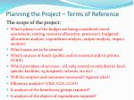 planning the project terms of reference