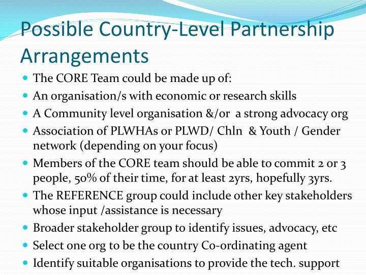 Possible Country-Level Partnership Arrangements