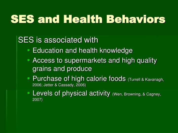 SES and Health Behaviors