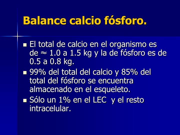 Balance calcio fósforo.