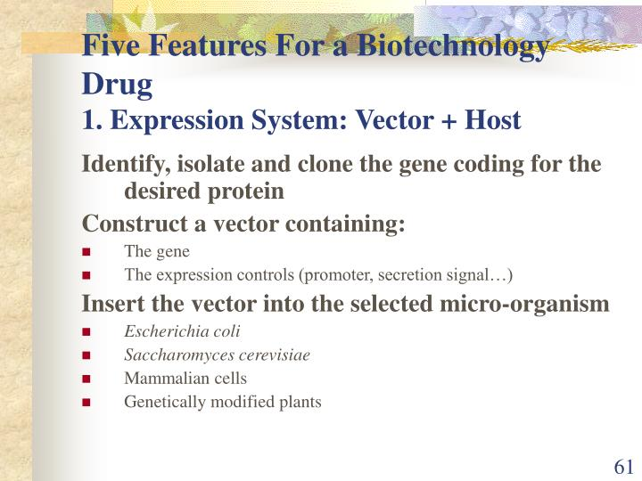 Five Features For a Biotechnology Drug