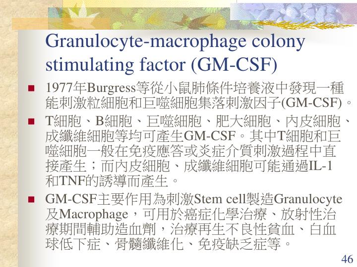Granulocyte-macrophage colony stimulating factor (GM-CSF)