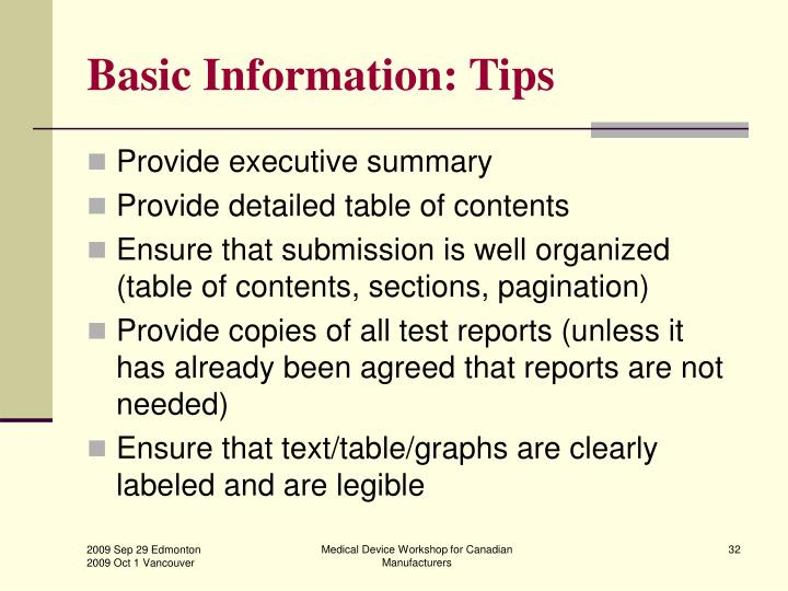 Basic Information: Tips