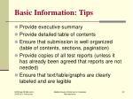 basic information tips