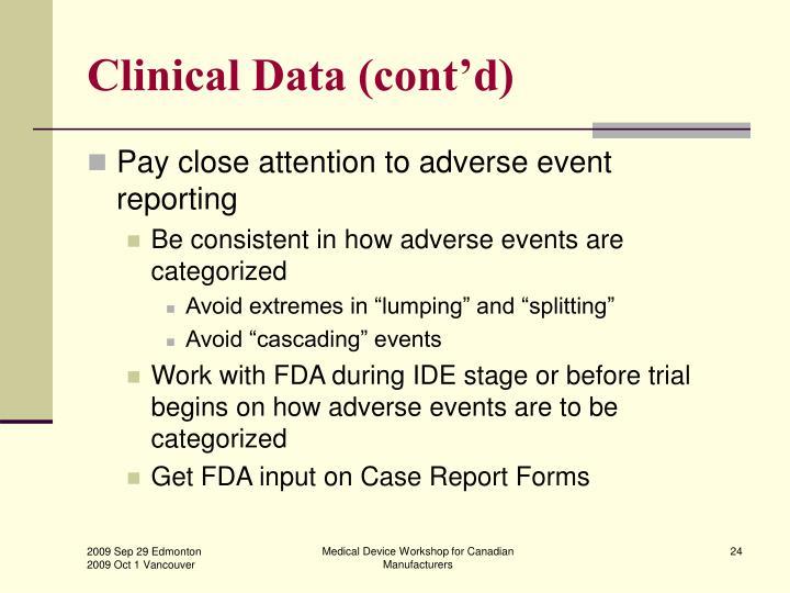Clinical Data (cont'd)