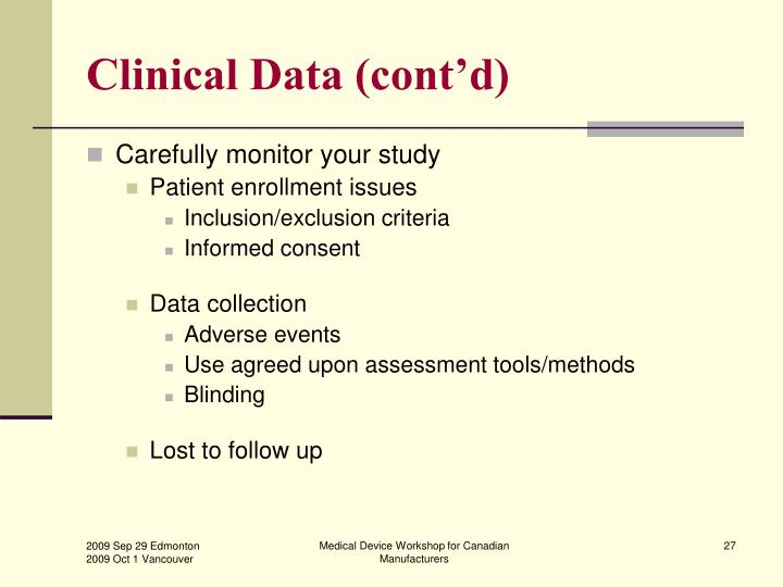 Clinical Data (cont'd)