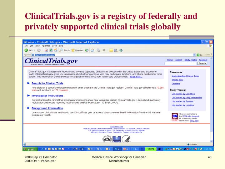 ClinicalTrials.gov is a registry of federally and privately supported clinical trials globally
