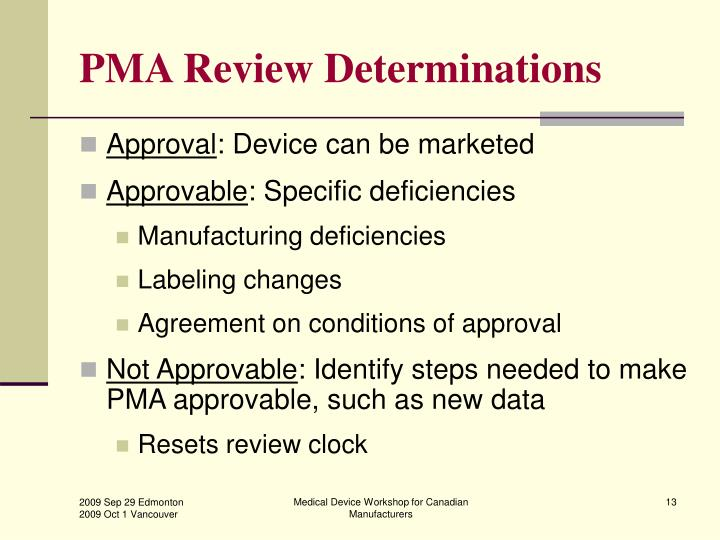 PMA Review Determinations