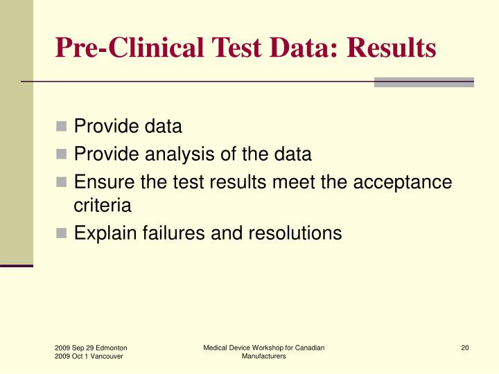 Pre-Clinical Test Data: Results