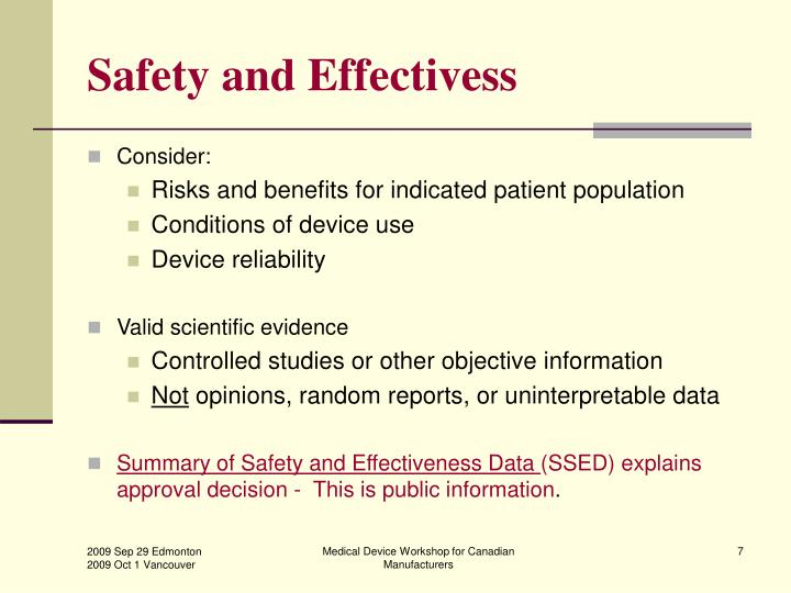 Safety and Effectivess