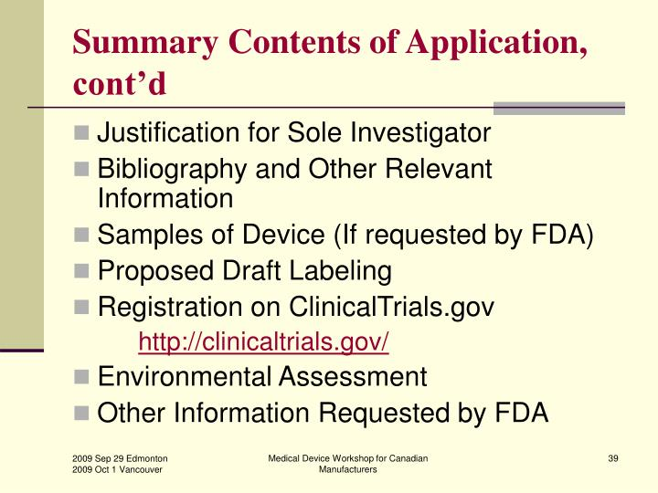 Summary Contents of Application, cont'd