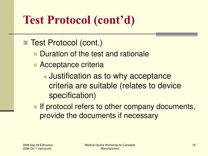 Test Protocol (cont'd)