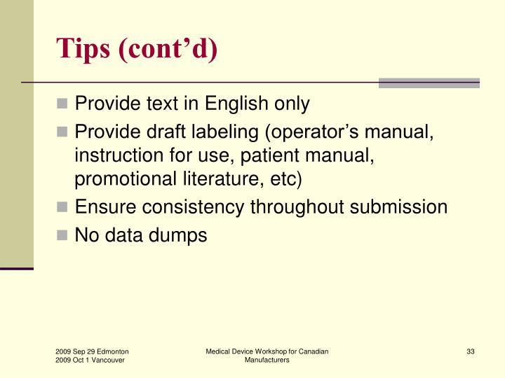Tips (cont'd)