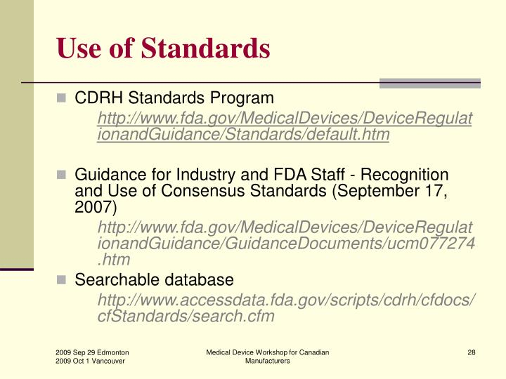 Use of Standards