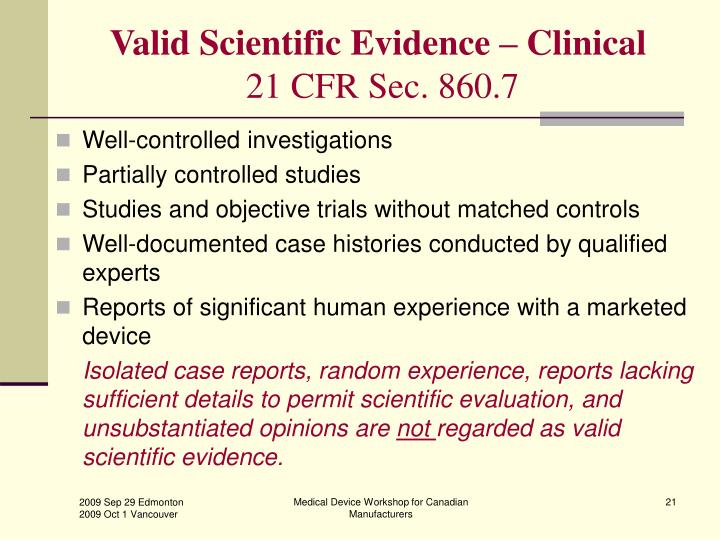 Valid Scientific Evidence – Clinical