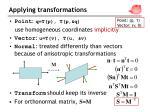 applying transformations