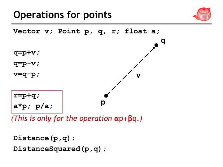 Operations for points