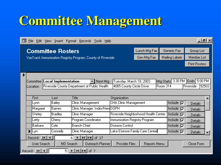 Committee Management