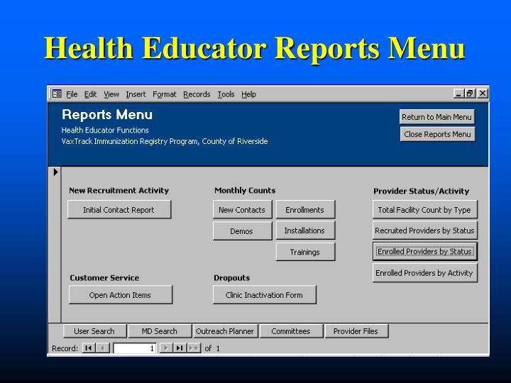 Health Educator Reports Menu