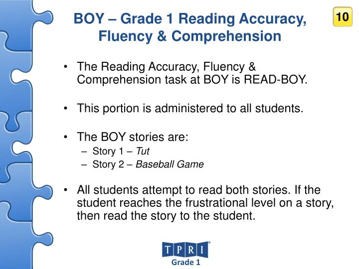 BOY – Grade 1 Reading Accuracy, Fluency & Comprehension