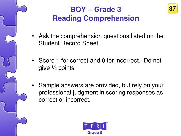 BOY – Grade 3