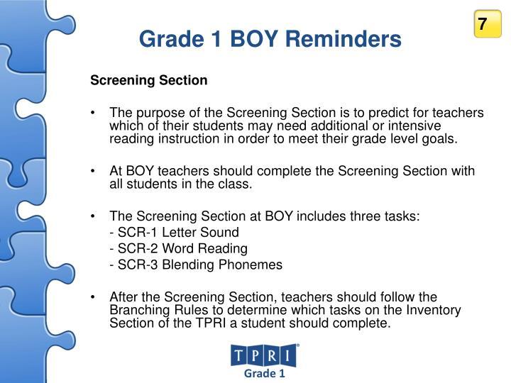 Grade 1 BOY Reminders