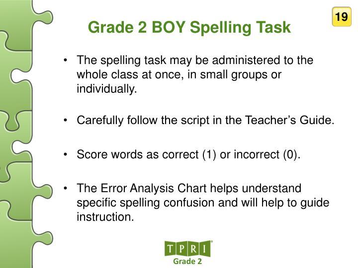 Grade 2 BOY Spelling Task