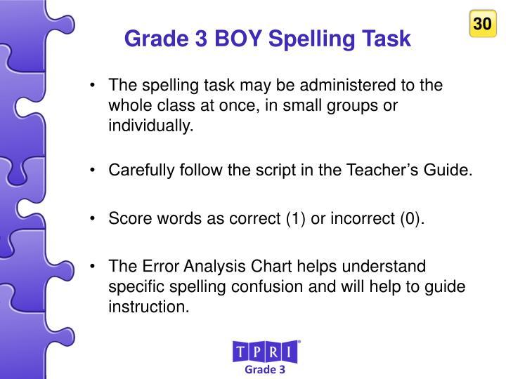 Grade 3 BOY Spelling Task