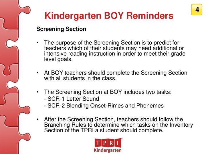 Kindergarten BOY Reminders