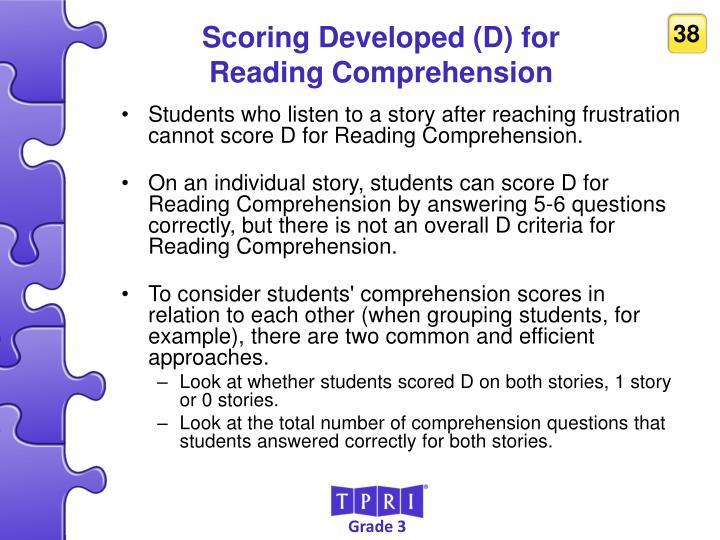 Scoring Developed (D) for