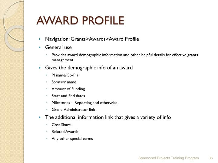 AWARD PROFILE