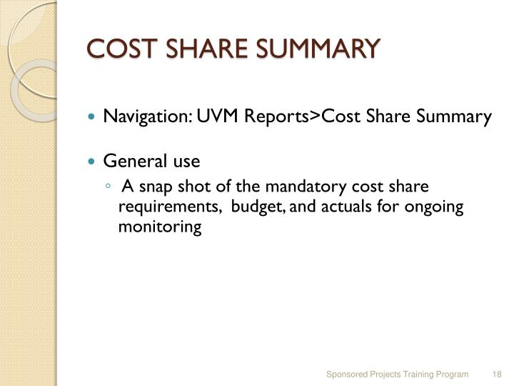 COST SHARE SUMMARY