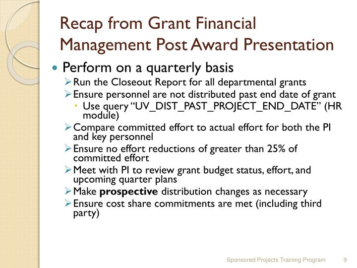 Recap from Grant Financial Management Post Award Presentation