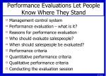 performance evaluations let people know where they stand
