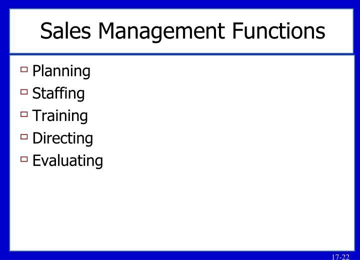 Sales Management Functions