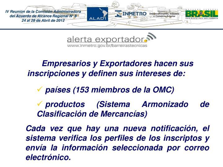 Empresarios y Exportadores hacen sus inscripciones y definen sus intereses de: