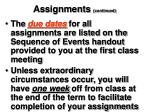 assignments continued