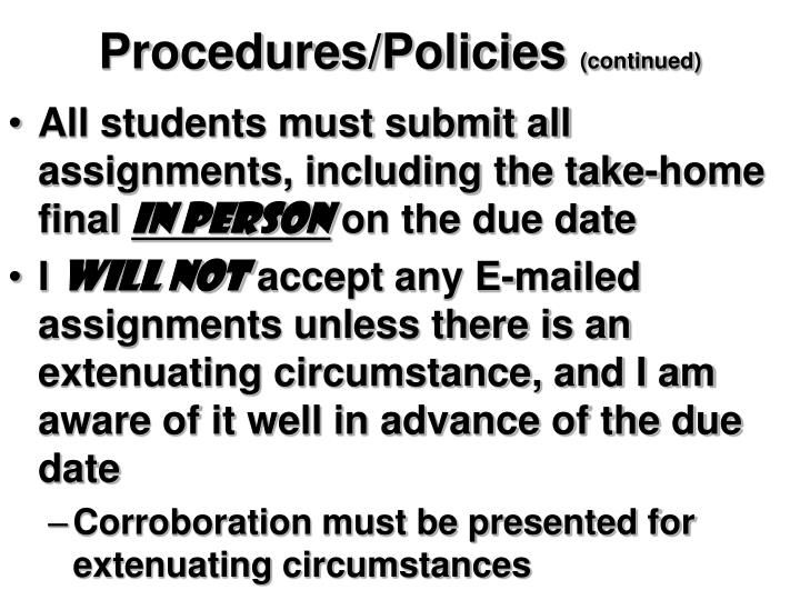 Procedures/Policies