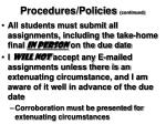 procedures policies continued
