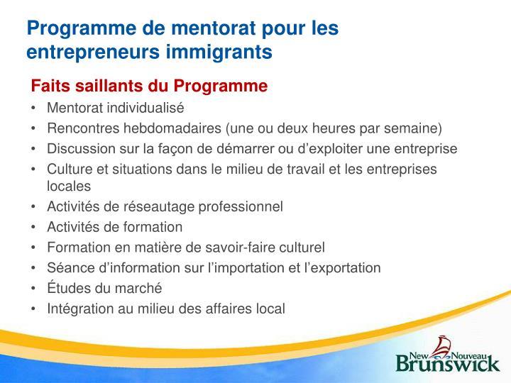 Programme de mentorat pour les entrepreneurs immigrants