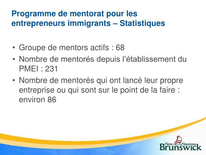 Programme de mentorat pour les entrepreneurs immigrants – Statistiques