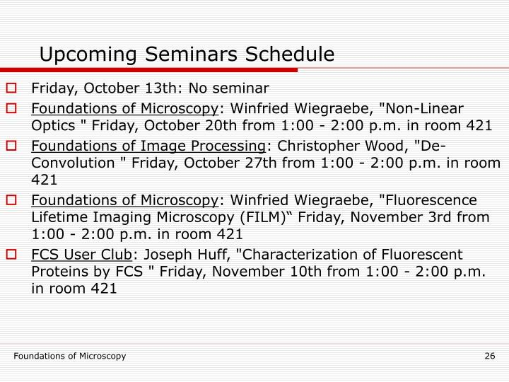 Upcoming Seminars Schedule