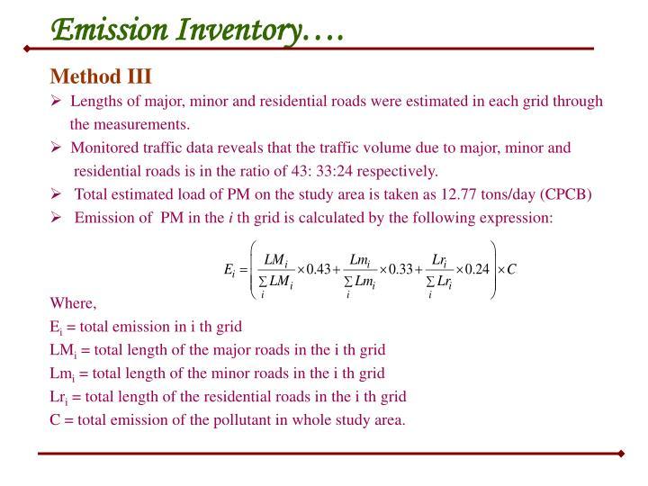 Emission Inventory….