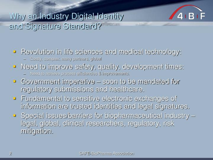 Why an industry digital identity and signature standard