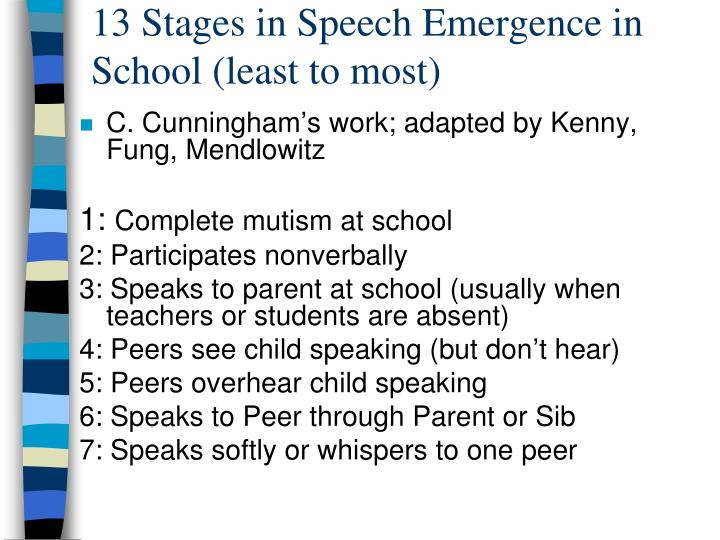 13 Stages in Speech Emergence in School (least to most)
