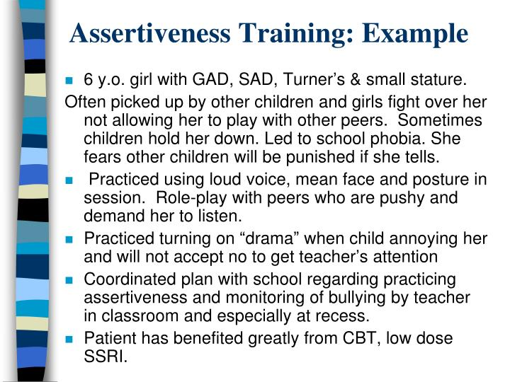 Assertiveness Training: Example