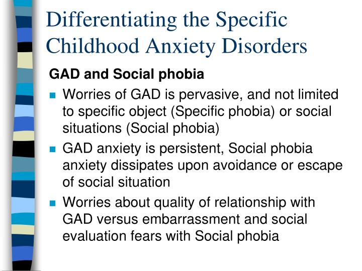 Differentiating the Specific Childhood Anxiety Disorders