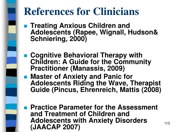 References for Clinicians