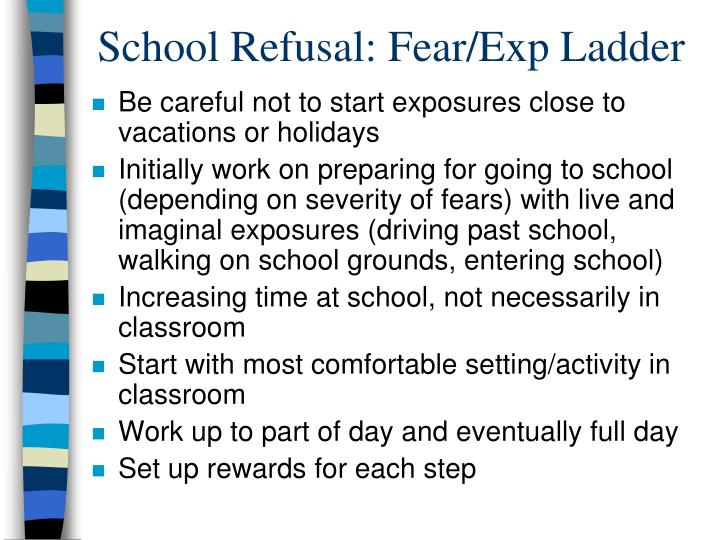School Refusal: Fear/Exp Ladder